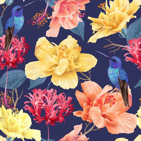Illustration for Tropic floral pattern background - Royalty Free Image