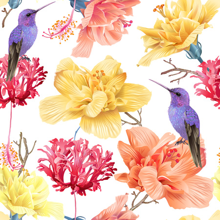 Illustration pour Vector tropical seamless pattern with bright flowers and hummingbird on white. Exotic floral background design for cosmetics, spa, perfume, health care products. Best as wrapping paper - image libre de droit