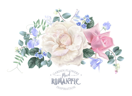 Illustration pour Vector vintage floral composition with garden roses and sweet pea flowers on white. Romantic design for natural cosmetics, perfume, women products. Can be used as greeting card or wedding invitation - image libre de droit