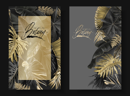 Illustration pour Vector vertical banners with black and gold tropical leaves on dark background. Luxury exotic botanical design for cosmetics, spa, perfume, aroma, beauty salon. Best as wedding invitation card - image libre de droit
