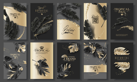 Illustrazione per Tropic leaf black and gold big banner set - Immagini Royalty Free