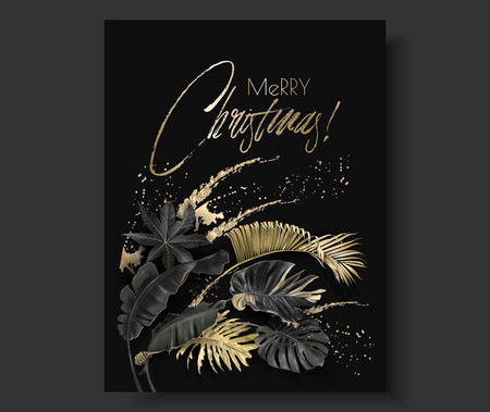 Illustration pour Vector vertical banner with tropical leaves and gold splashes on dark background. Exotic botanical design for Christmas greeting card, party invitation, holiday sales, poster, web page, packaging - image libre de droit