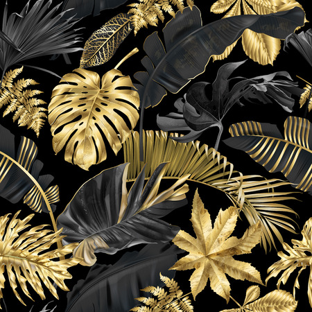 Ilustración de Vector seamless pattern with gold and black tropical leaves on dark background. Exotic botanical background design for cosmetics, spa, textile, hawaiian style shirt. Best as wrapping paper, wallpaper - Imagen libre de derechos