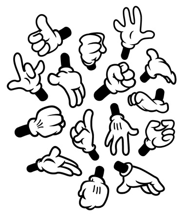 Illustrazione per Cartoon hands gestures - Immagini Royalty Free