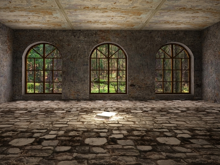 Photo for Large, empty, abandoned room with open book on stone floor - Royalty Free Image