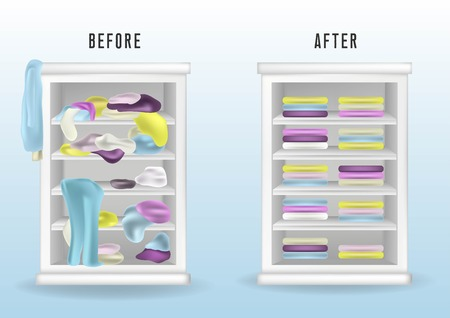 Ilustración de Before untidy and after tidy wardrobe. Messy clothes thrown on a shelf and nicely arranged clothes in piles and boxes. Realistic cleaning concept. - Imagen libre de derechos