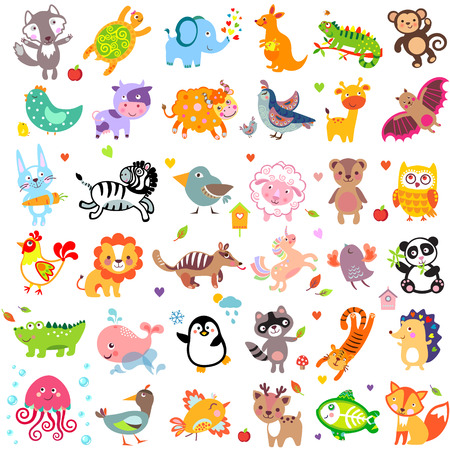 Foto de Vector illustration of cute animals and birds - Imagen libre de derechos