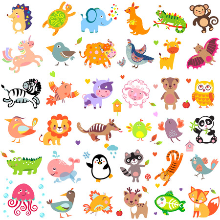 Vector illustration of cute animals and birds: Yak, quail, giraffe, vampire bat, cow, sheep, bear, owl, raccoon, hedgehog, whale, panda, lion, deer, x-ray fish, fox, dove, crow, chicken, duck, quail, crocodile, tiger, turtle, kangaroo, elephant, monkey, i