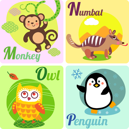 Cute zoo alphabet in vector. M, N, O, Pl letters. Funny animals for ABC book. Monkey, numbat, owl, penguin.