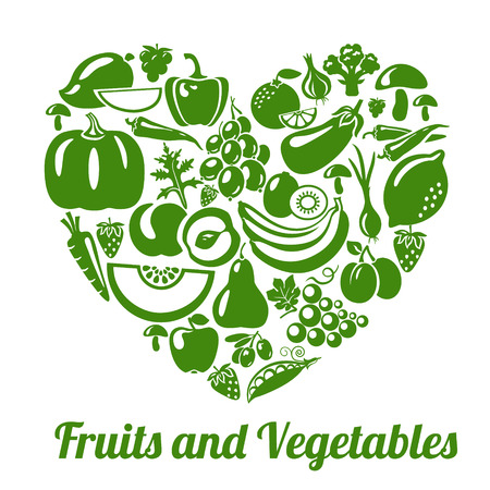 Photo for Organic food concept. Heart shape with organic vegetables and fruits icons. Vector illustration - Royalty Free Image