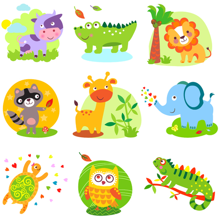Ilustración de Vector illustration of cute animals: cow, crocodile, alligator, lion, raccoon, giraffe, elephant, cherpaha, owl, iguana - Imagen libre de derechos