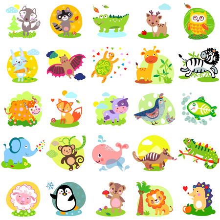 Ilustración de Vector illustration of cute animals and birds: wolf, raccoon, alligator, deer, owl, rabbit, bat, turtle, giraffe, zebra, yak, fox, cow, quail, bird, elephant, monkey, whale, numbat, iguanas, sheep, penguin, bear, lion, hedgehog, X-Ray Fish, bunny, hare - Imagen libre de derechos