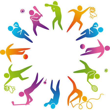 Ilustración de World of sports. Vector illustration of sports icons: basketball; soccer; tennis; boxing; wrestling; golf; baseball; gymnastics; - Imagen libre de derechos