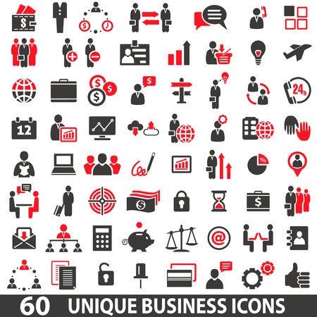Ilustración de Set of 60 business icons in two colors red and dark grey - Imagen libre de derechos