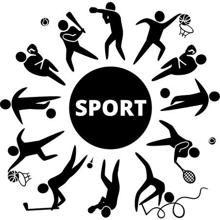 World of sports. Vector illustration of sports icons: basketball; soccer; tennis; boxing; wrestling; golf; baseball; gymnastics;