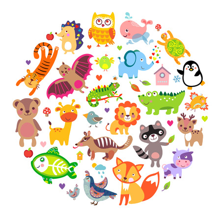 Ilustración de Save animals emblem, animal planet, animals world. Cute animals in a circle shape - Imagen libre de derechos
