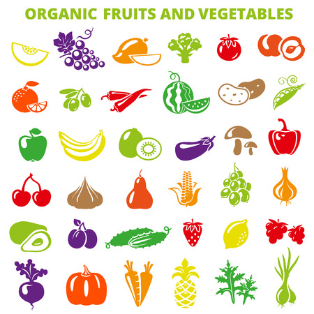 Photo for Set of fruits and vegetables: banana, apple, lemon, pear, cherry, pineapple, eggplant, corn, avocado, cucumber, plum, strawberry, beets, radish, garlic, carrots, pumpkin. - Royalty Free Image