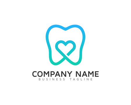 Illustration pour Dental Love Logo Design Temp - image libre de droit