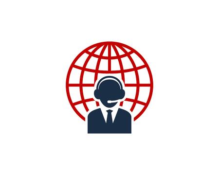 Illustration for Customer Service Globe Logo Icon Design - Royalty Free Image