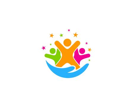 Ilustración de Care Group Logo Icon Design - Imagen libre de derechos