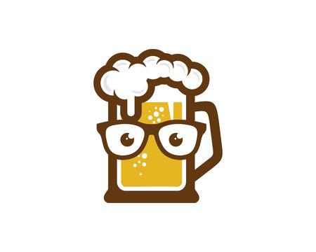 Ilustración de Geek Beer Logo Icon Design - Imagen libre de derechos