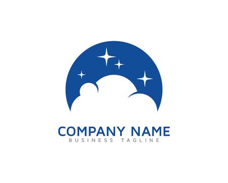 Ilustración de Moon Cloud Logo Icon Design - Imagen libre de derechos