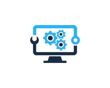 Illustration pour Fix Computer Icon Logo Design Element - image libre de droit