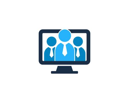 Ilustración de People Computer Icon Logo Design Element - Imagen libre de derechos