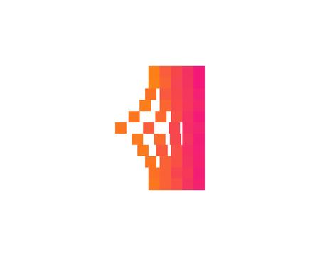 Illustration for Letter I Pixel Bit Icon Logo Design Element - Royalty Free Image