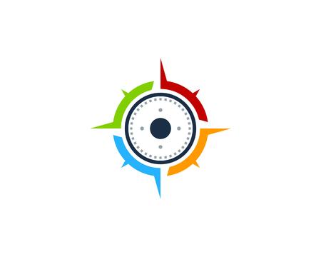 Ilustración de Compass Icon Logo Design Element - Imagen libre de derechos