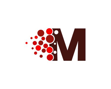 Ilustración de Letter M Pixel Dot Circle Icon Logo Design Element - Imagen libre de derechos