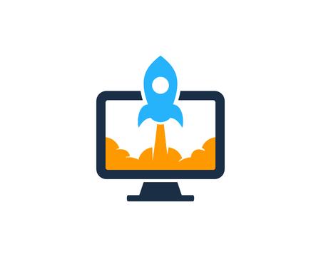 Ilustración de Rocket Computer Icon Logo Design Element - Imagen libre de derechos