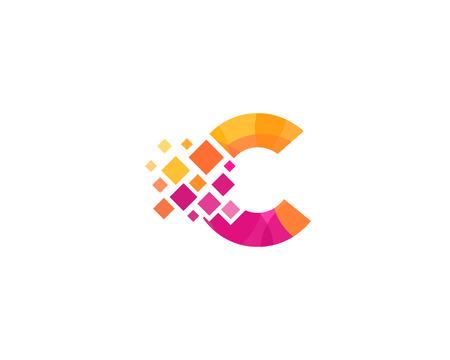 Illustration for Letter C Pixel Icon Logo Design Element - Royalty Free Image