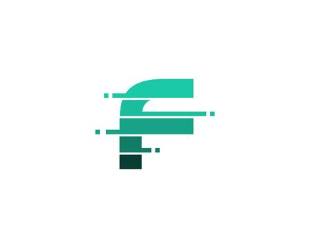 Ilustración de Letter F Pixel Cut Line Icon Logo Design Element - Imagen libre de derechos