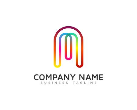 Ilustración de Line Rainbow Color Letter Icon Logo Design Element - Imagen libre de derechos