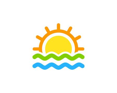 Ilustración de Wave Icon Logo Design Element - Imagen libre de derechos