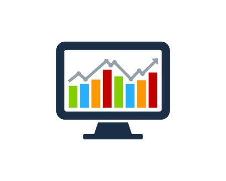 Ilustración de Stock Market Business Icon Logo Design Element - Imagen libre de derechos