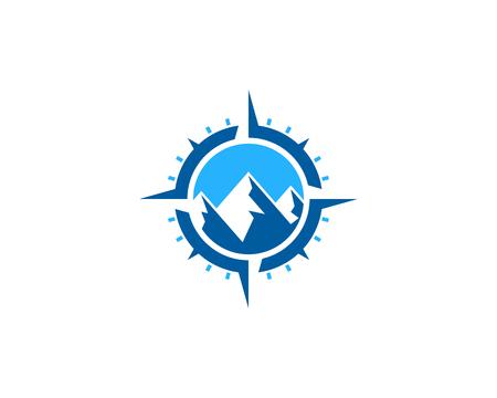 Ilustración de Mountain Compass Icon Logo Design Element - Imagen libre de derechos