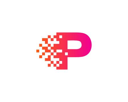 Illustration pour Letter P Digital Pixel Icon Logo Design Element - image libre de droit