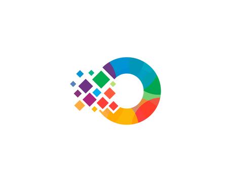 Ilustración de Letter O Pixel Icon Design Element - Imagen libre de derechos