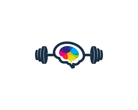 Ilustración de Brain Barbell Logo Icon Design - Imagen libre de derechos