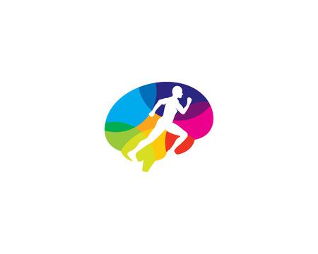 Ilustración de Run Brain Logo Icon Design - Imagen libre de derechos