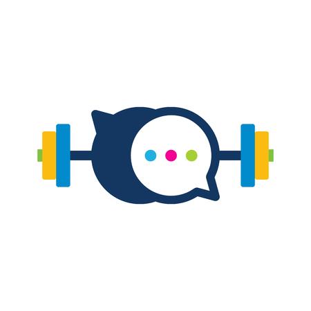 Illustration pour Barbell Chat Logo Icon Design - image libre de droit