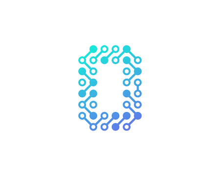 Ilustración de 0 Circuit Digital Letter And Number Logo Icon Design - Imagen libre de derechos