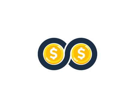 Illustration pour Infinity Coin Icon Logo Design Element - image libre de droit