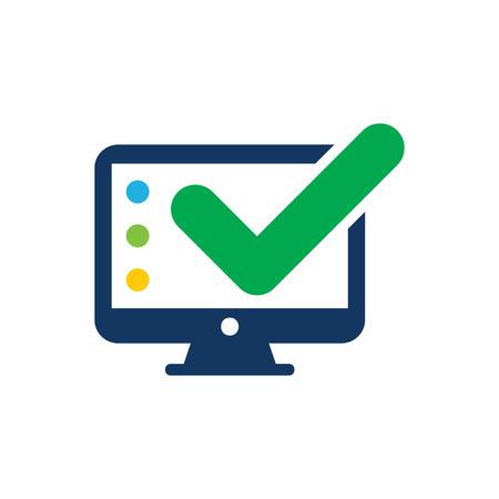Illustration pour Check Computer Logo Icon Design - image libre de droit