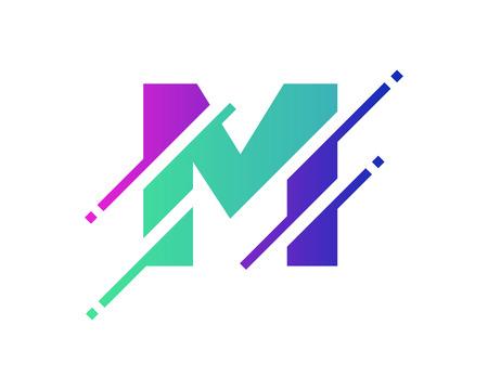Illustration pour M Digital Letter Pixel Logo Icon Design - image libre de droit