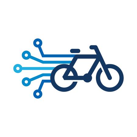 Ilustración de Bike Digital Icon Design illustration on white background. - Imagen libre de derechos