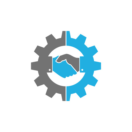 Ilustración de Handshake Gear Logo Icon Design - Imagen libre de derechos