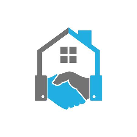 Illustration for Handshake House Logo Icon Design - Royalty Free Image